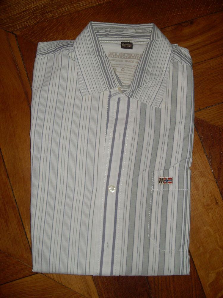 chemise blanche grisée à rayures verticales NAPAPIJRI 20 Vertaizon (63)