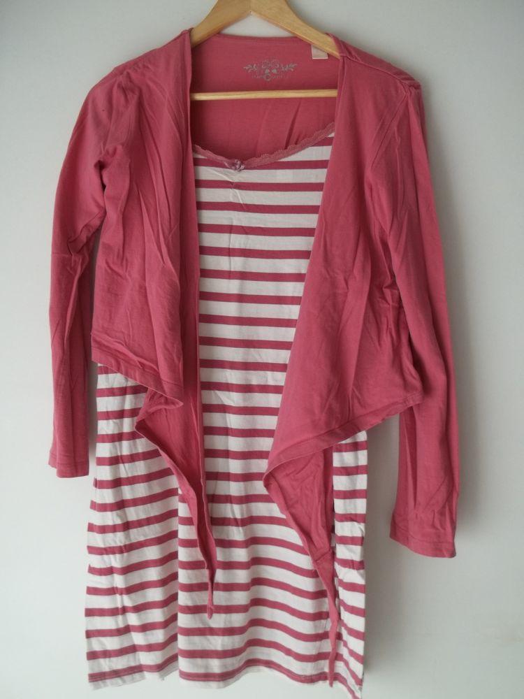 Chemise de nuit et son gilet - rose et blanc 5 Pont-Péan (35)