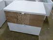 Chevet 2 tiroirs Patchwork blanc et imitation bois