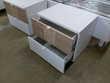 Chevet 2 tiroirs Patchwork blanc et imitation bois Meubles