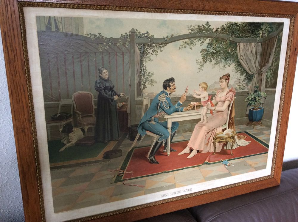 Chromolithographie Bonheur du Foyer signée Paul Jazet 1894 100 Gif-sur-Yvette (91)