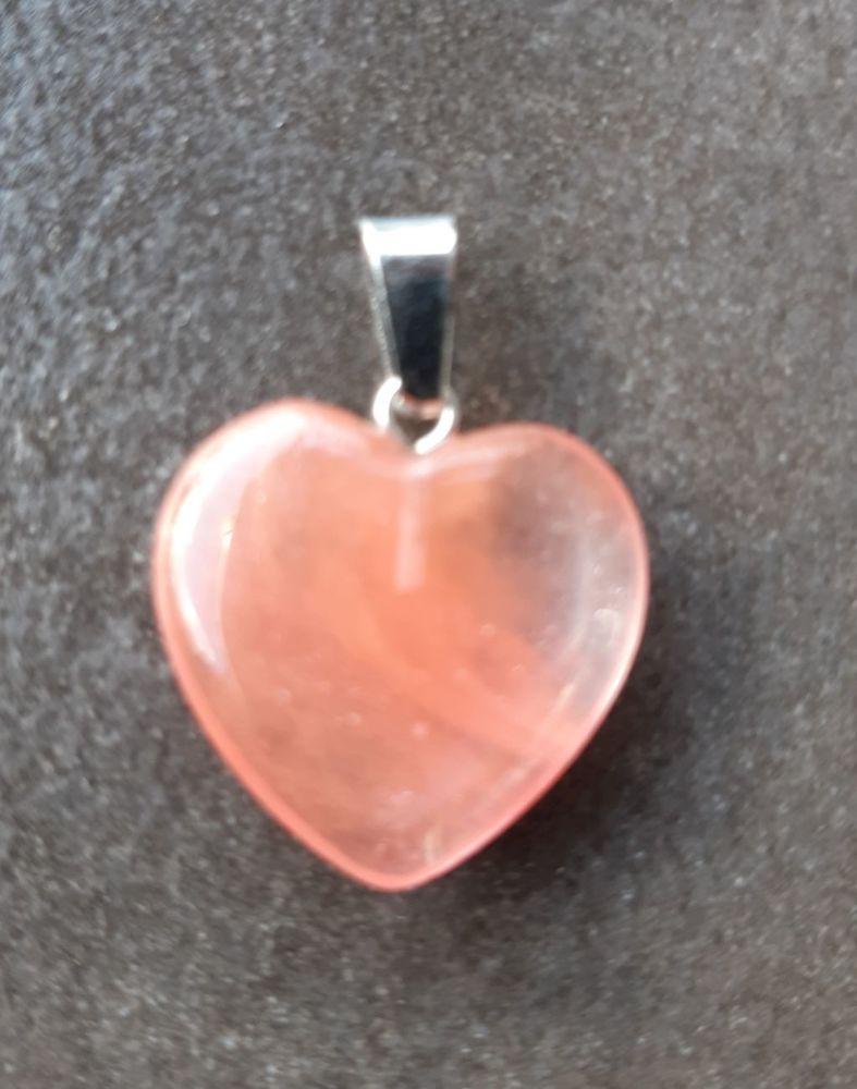 coeur pierre cornaline sur bélière en acier 4 La Seyne-sur-Mer (83)