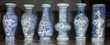 Collection de 6 vases de couleur bleue.