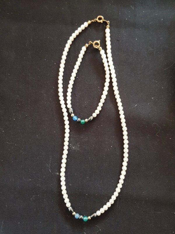 Collier et bracelet perle et pierre neuf collier 41 cm brace 5 Viriat (01)
