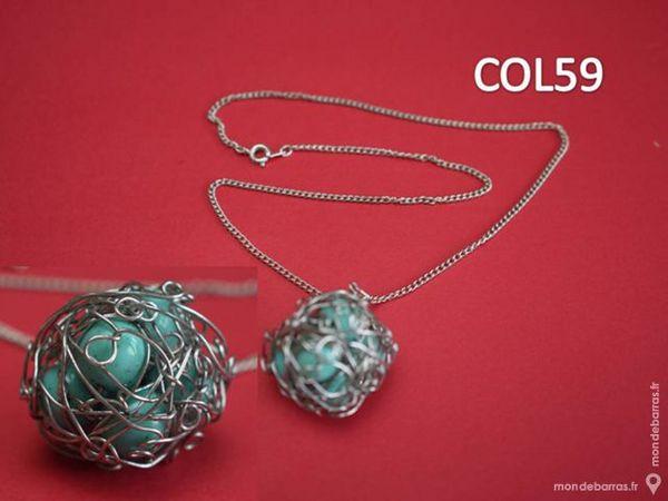 COLLIER FANTAISIE POUR FEMME - Boule pierre bleue 6 Mons-en-Barœul (59)