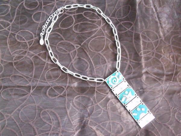Collier original pendentif bleu Métal et émaux 15 Mons-en-Barœul (59)