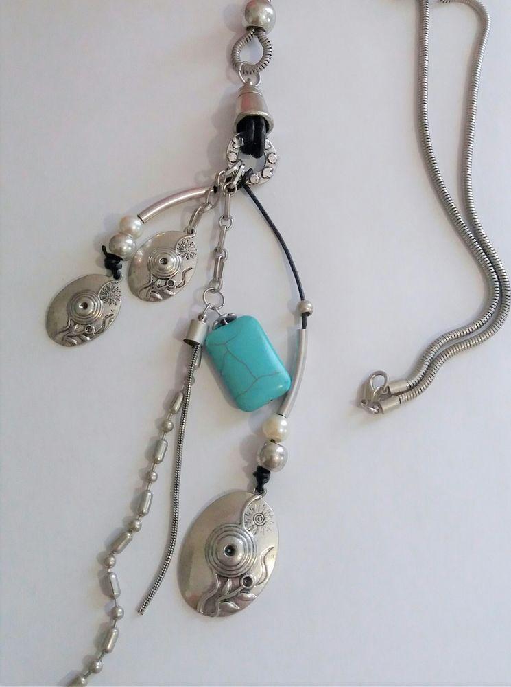 Collier sautoir mode à breloque métal argent ethnique 5 Domart-en-Ponthieu (80)