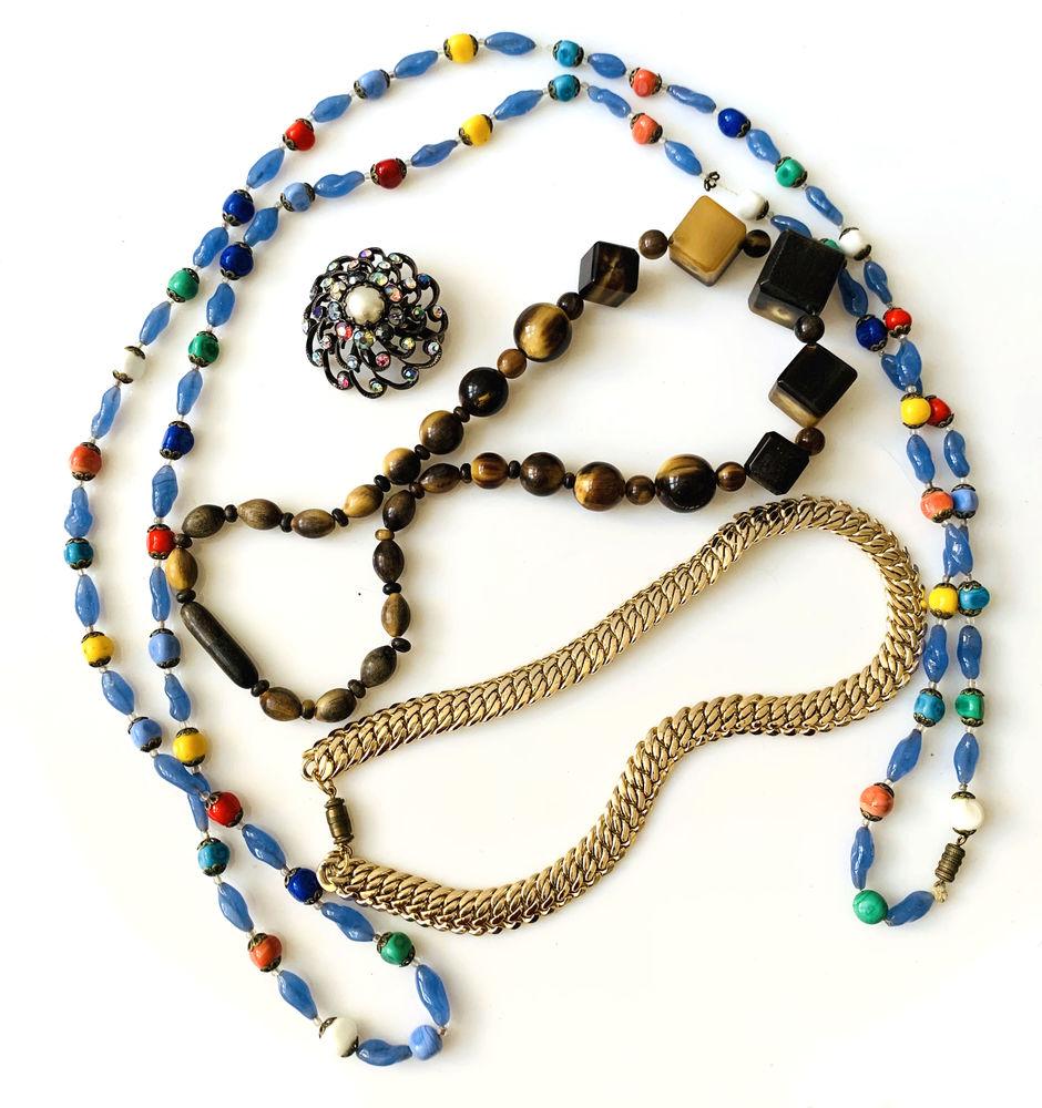 LOT de 3 COLLIERS BROCHE VINTAGE ANCIEN OR Bijoux et montres