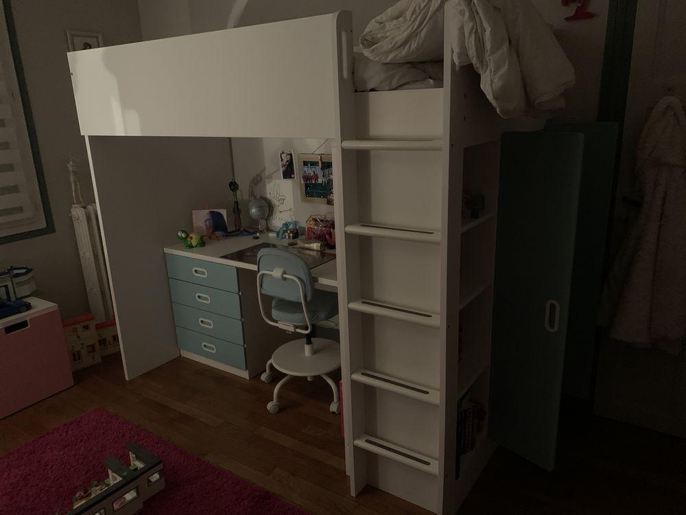 lit combiné IKEA blanc et bleu clair Meubles