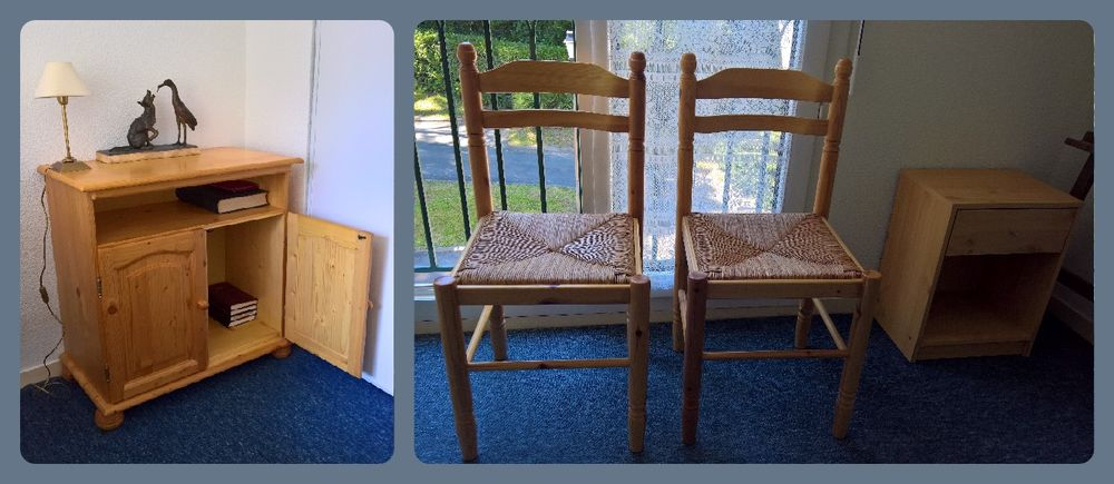 Commode pin + 2 chaises pin + table de chevet 45 Anglet (64)