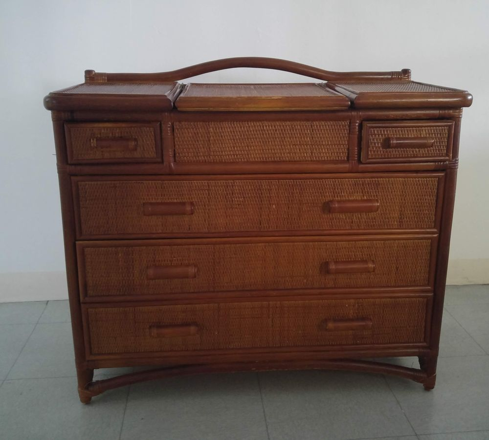 Commode-coiffeuse en rotin vintage 100 Aubervilliers (93)