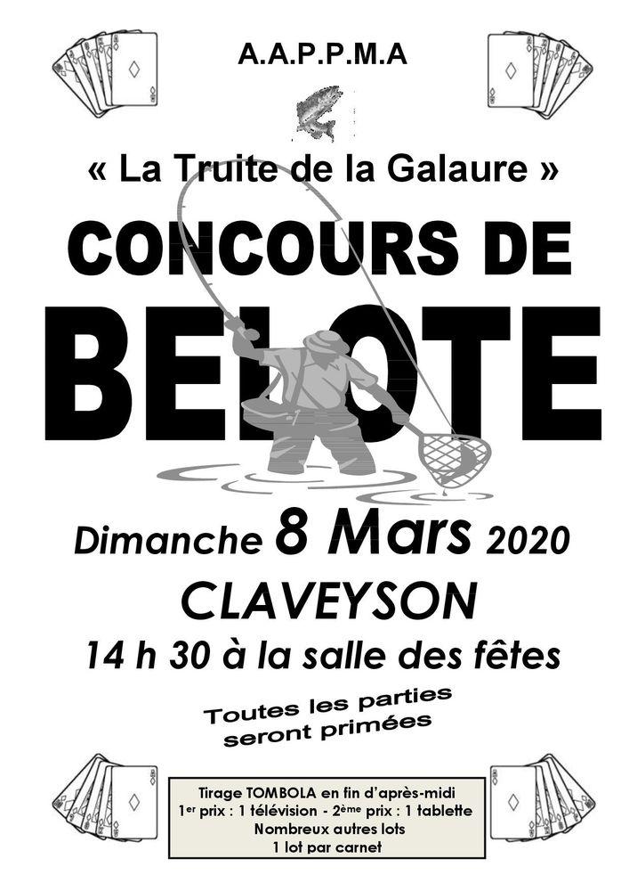 Concours de belote - Dimanche 8 mars 2020 à CLAVEYSON (26) 14 Hauterives (26)