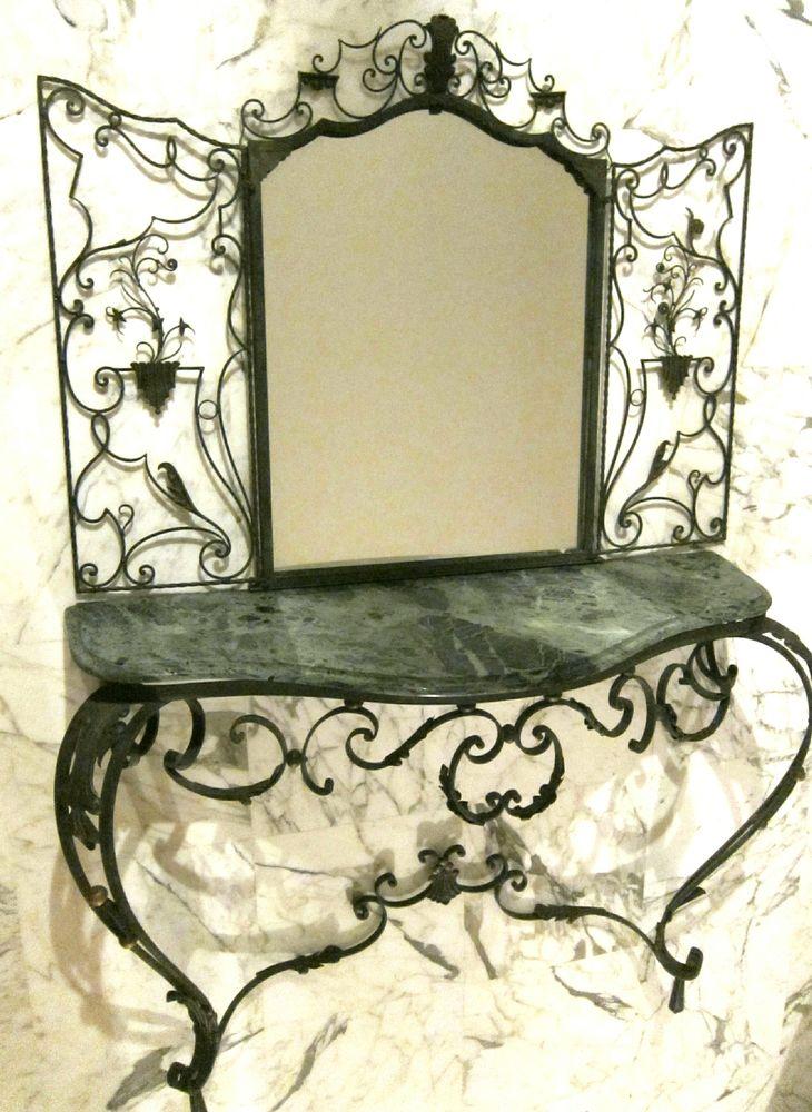 Console fer forgé, marbre et miroir  1500 Nice (06)