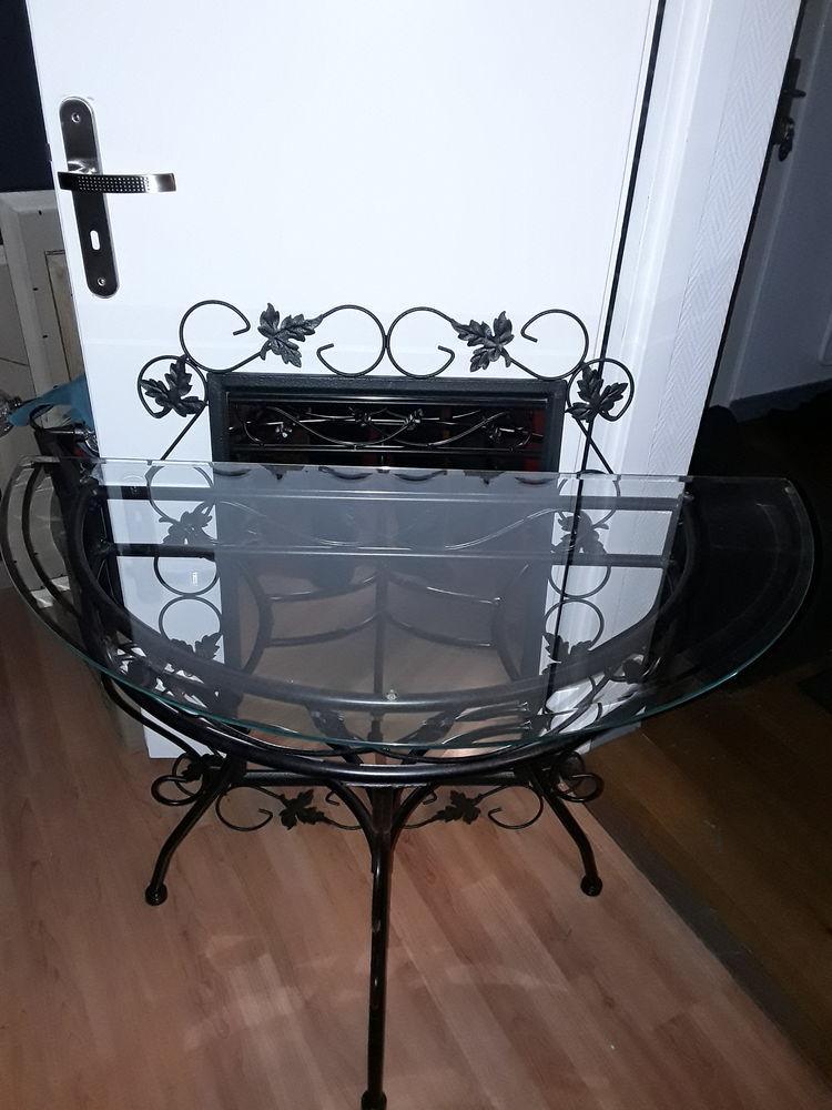 console fer forgé en verre biseautée et son miroir 50 Petite Synthe (59)
