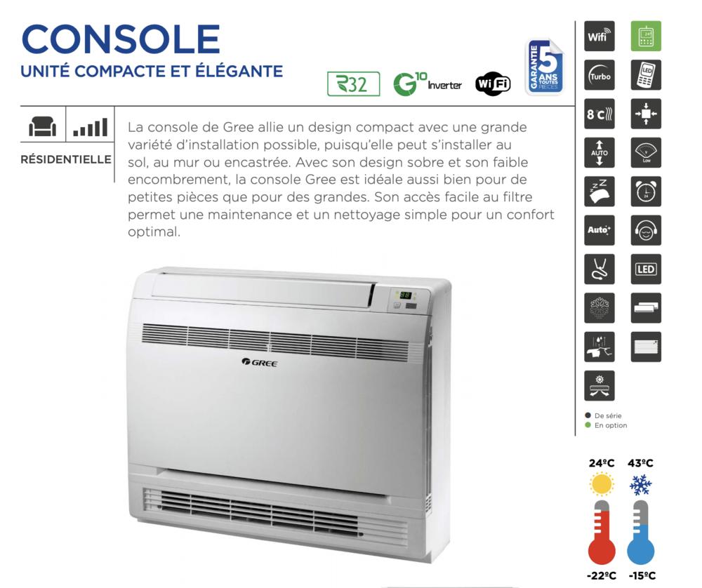 Console intérieure marque  Gree  : pompe à chaleur / clim 250 Bagneux (92)