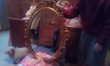 Console+miroir+sellette en bois doré à la feuille d'or