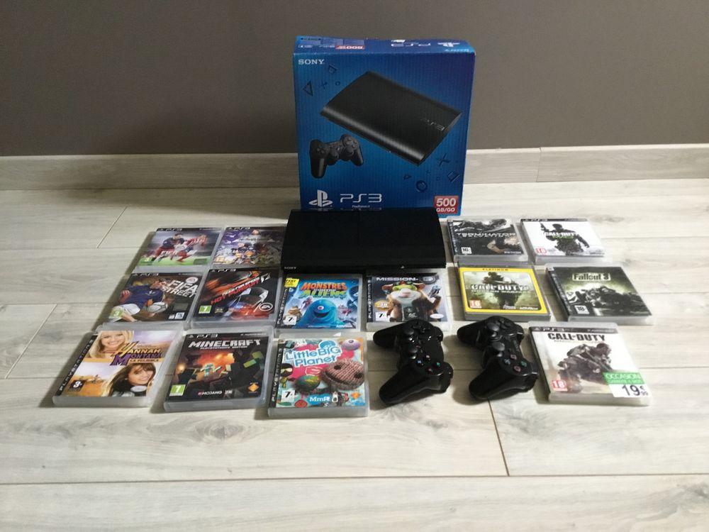 Console PS3 ultra slim noire + 2 manettes + 14 jeux  149 Saint-Marcel-sur-Aude (11)