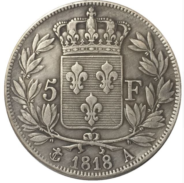 COPIE PLAQUÉ ARGENT- LOUIS XVIII ROI DE FRANCE 5 FRANCS 1818 10 Hautmont (59)