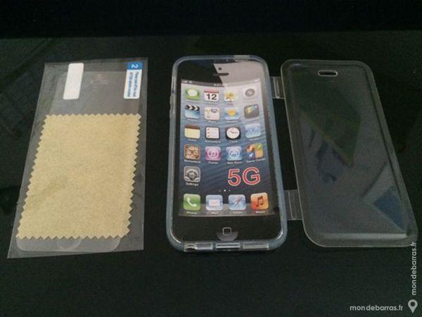Coque en silicone Transparent pour Iphone 5S + Film 2 Yzeure (03)