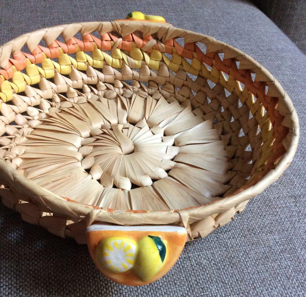 Corbeille en osier poignées agrumes (céramique) 1 Paris 17 (75)