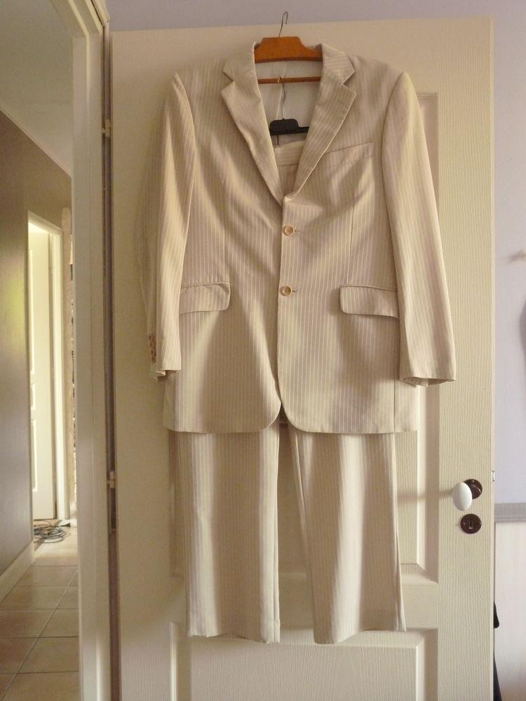 costume beige homme 44 M ceremonie point mariage TBE Vêtements