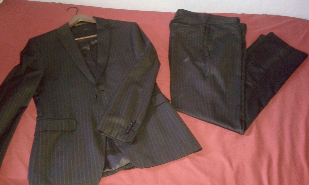 Costume Homme (veste/pantalon) Rayé Marron - T 40 (M/L) 25 Paris 19 (75)