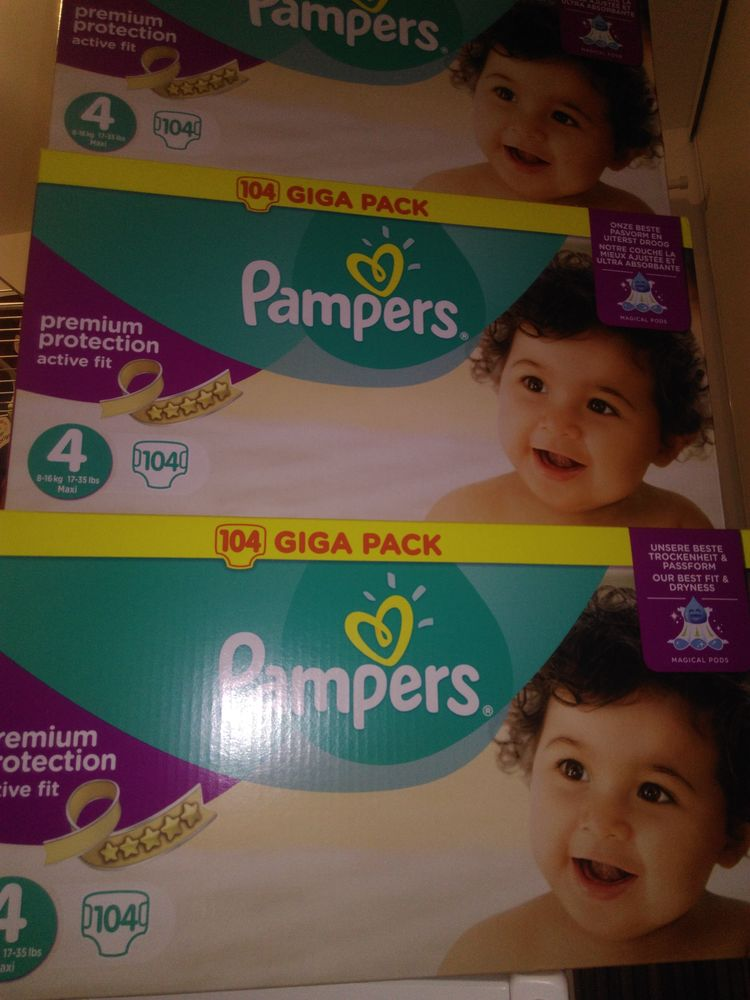 104 couches Pampers taille 4 en cartons neuf. 23 Grenay (38)