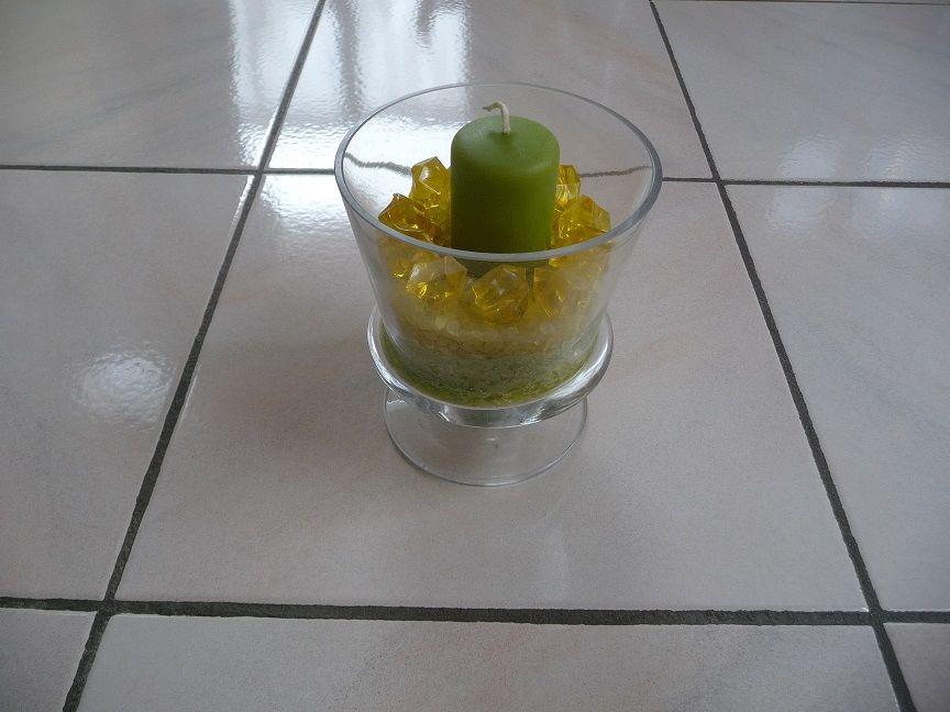Coupe verre + bougie sur sable vert & jaune NEUVE 15 Montigny-le-Bretonneux (78)