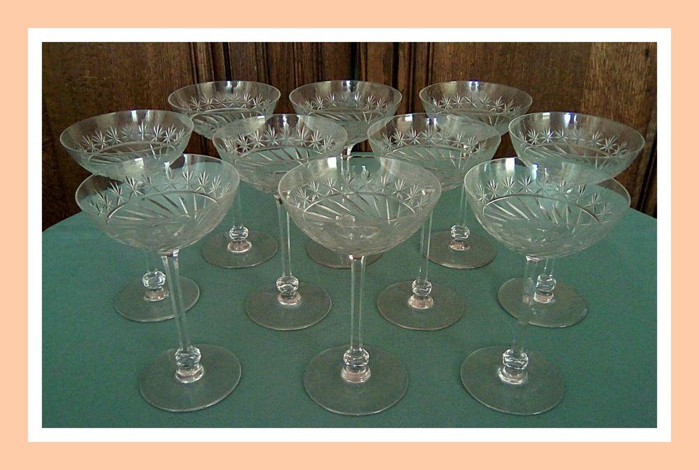 10 Coupes à Champagne Cristal Saint LOUIS du début 20ième  380 Gannat (03)