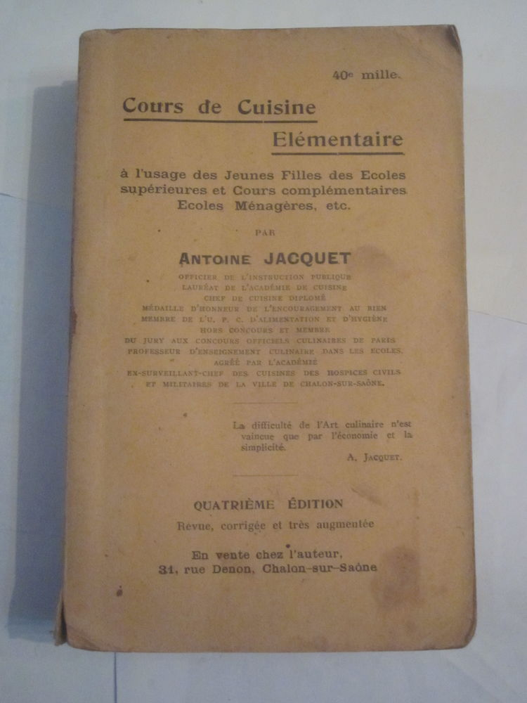 COURS DE CUISINE ELEMENTAIRE 1928 25 Brest (29)