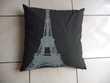 Coussin tissu gris motif Tour Eiffel - NEUF Montigny-le-Bretonneux (78)