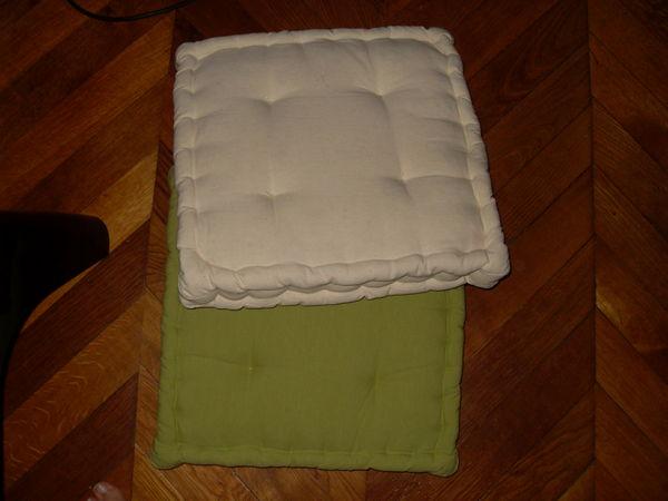 coussin vert et blanc Décoration