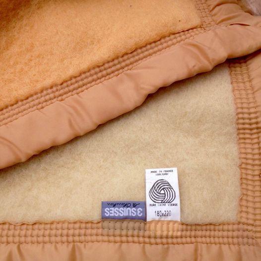 Couverture pure laine vierge neuve 180 x 220 bi ton Meubles