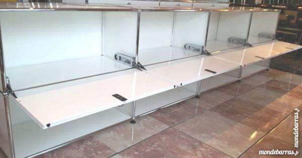 Crédence usm haller blanche 8 cases 4 portes abatt 1995 Chenoise (77)