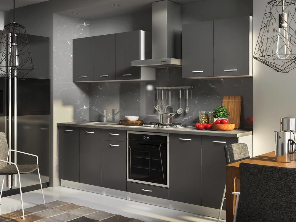 Meuble cuisine gris anthracite photos de conception de maison for Cuisine gris anthracite