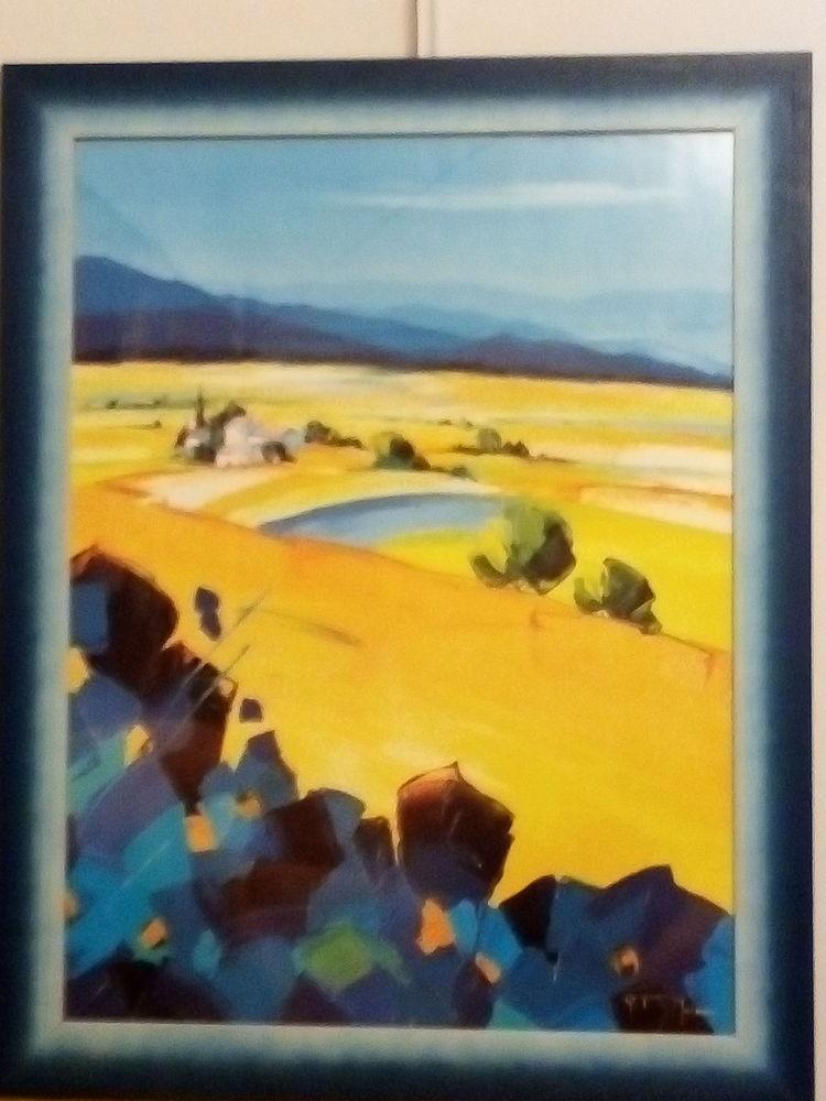 Lot de deux beaux tableaux  jaunes et bleus 110 Fréjus (83)
