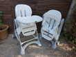 Deux chaises hautes de marque CAM pour jumeaux