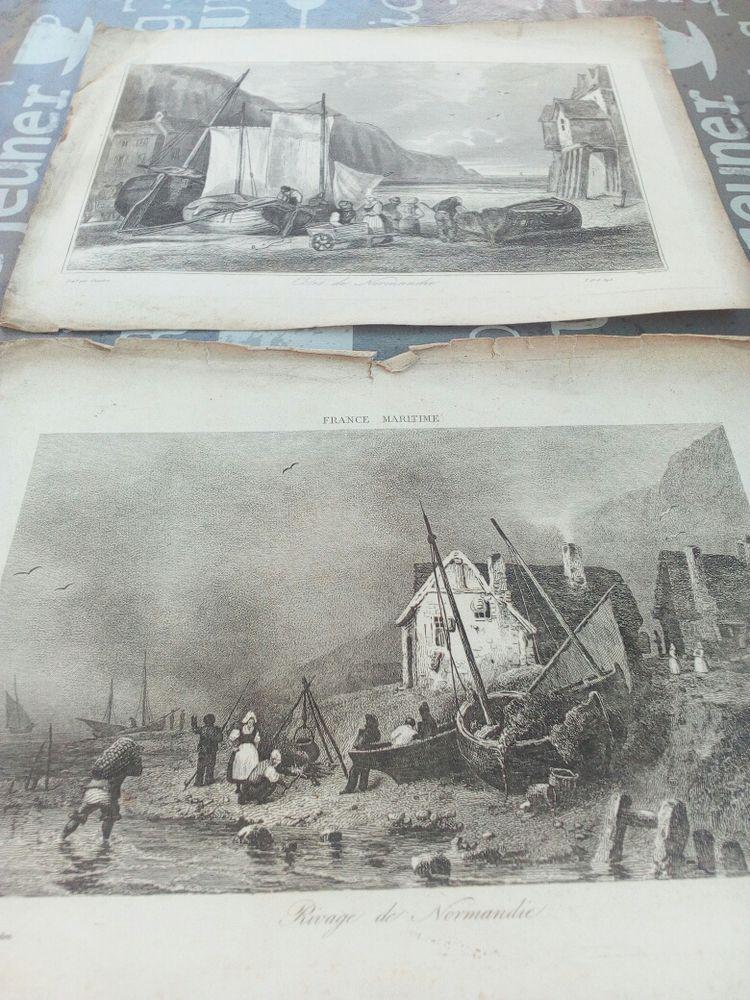 Deux gravures XlX rivage et côte normande 25 Lisieux (14)