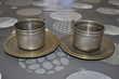 Lot de deux tasses en métal cuivré