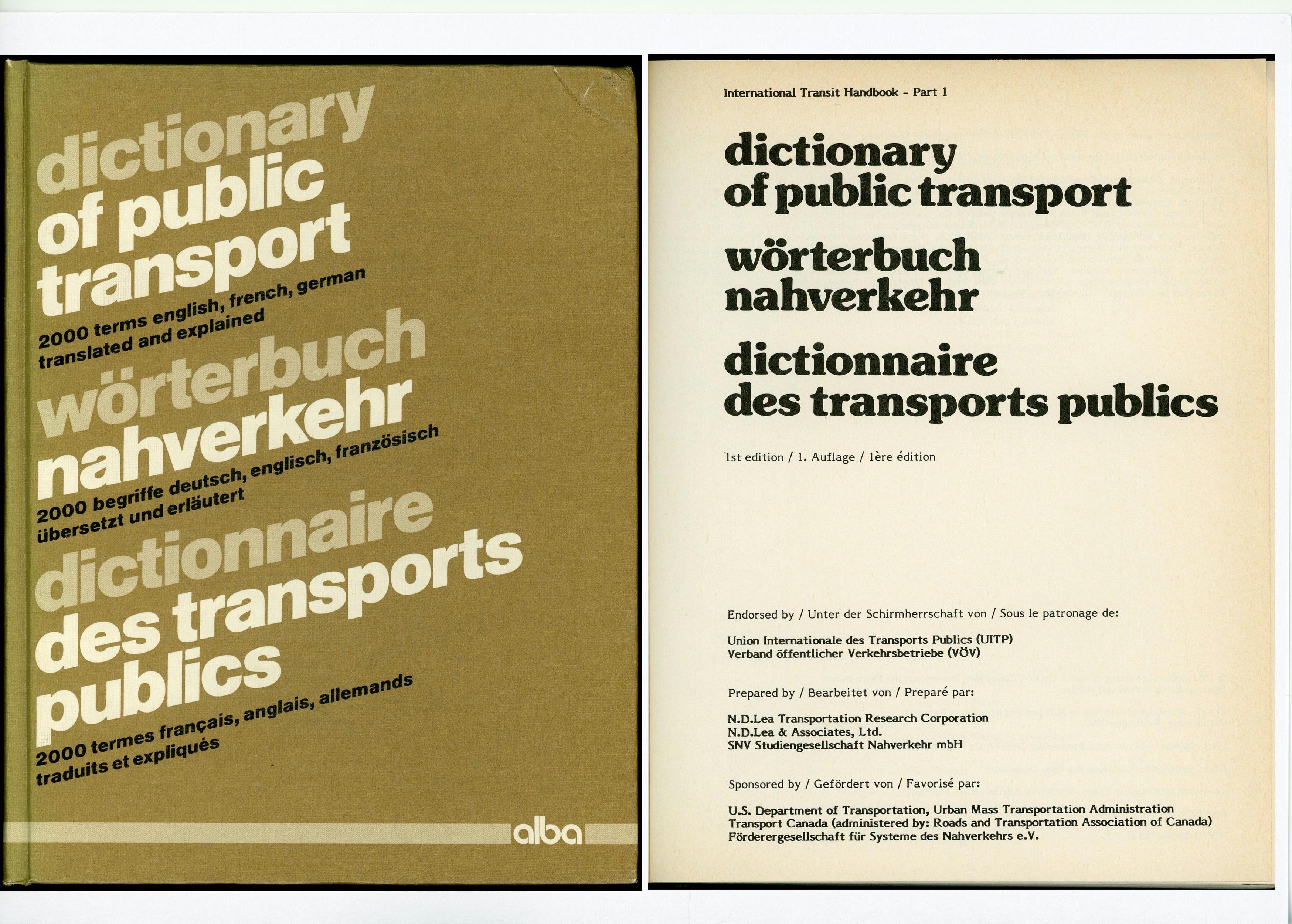 Dictionnaire des Transports Publics 3 langues Livres et BD