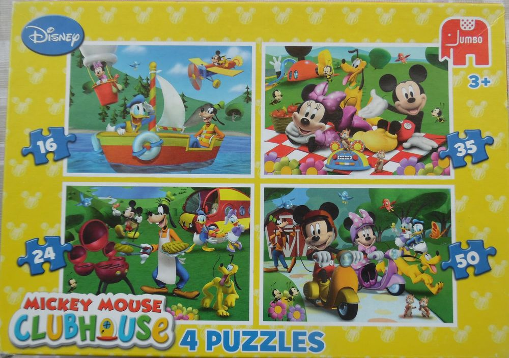 DISNEY ? CLUBHOUSE 23 x 16 cm MICKEY MOUSE 4 PUZZLES  6 Castries (34)