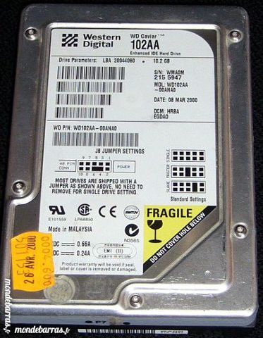 Disque dur ATA WD 102AA-3,5 10,2GB 21 Versailles (78)