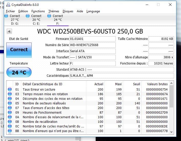 Disque Dur 250Go SATA 2.5  Western Digital 6 Béthune (62)