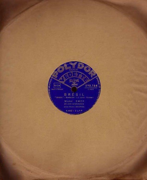 Disque Vinyl EMER / DECKER 78 tours BRESIL  Brazil  + TICO T 4 Bagnolet (93)