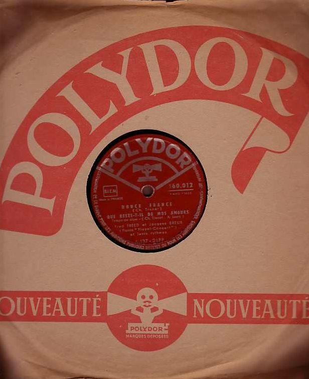 Disque Vinyl FRED FREED & JAC BREUX 78 t LA MER + DOUCE FRAN 4 Antony (92)