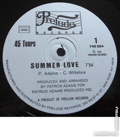 disque vinyle maxi 45 / PATRICK ADAMS /Summer love CD et vinyles