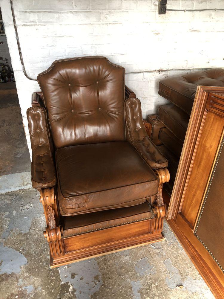 donne canapé chêne et cuir très bon état avec 2 fauteuils 0 Escaudain (59)