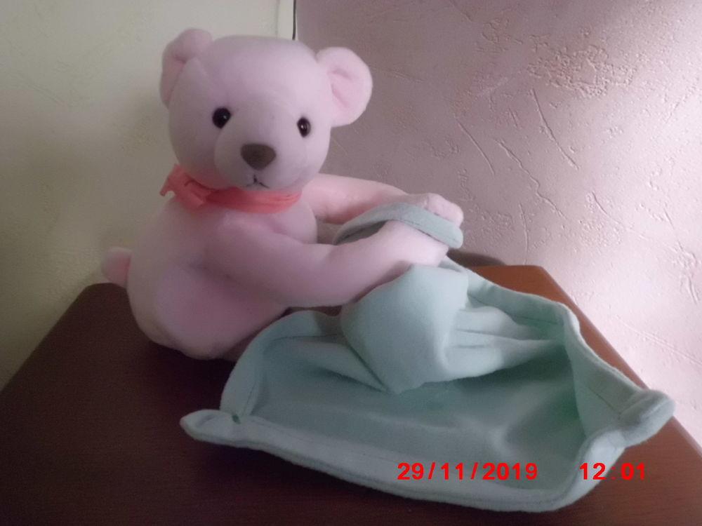 Ours Plat Doudou et compagnie plat ours blanc col pétale Nuage attache tétine