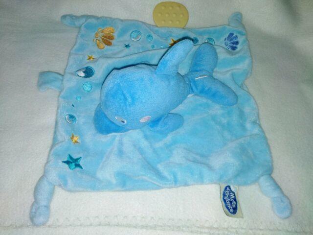 Doudou plat dauphin bleu mots d'enfant 5 Bayonne (64)