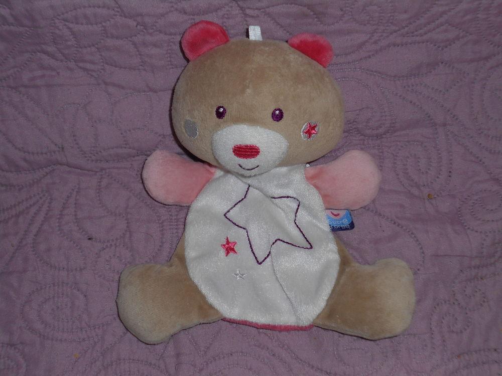 doudou sucre d'orge ours fluorescent rose, blanc  10 Saint-Rémy-en-Mauges (49)